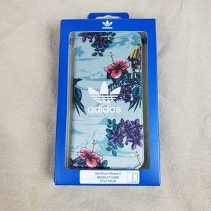 ADIDAS Tropical Floral iPhone X Booklet Case Blue